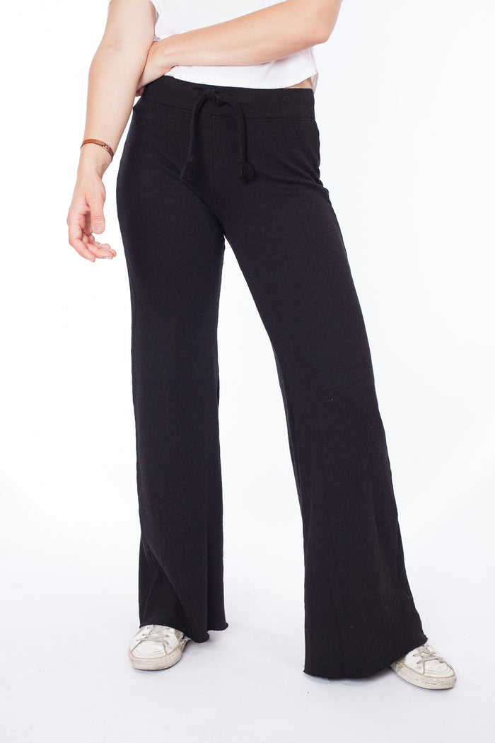 Wide Leg Highwaist Sweatpant - Black