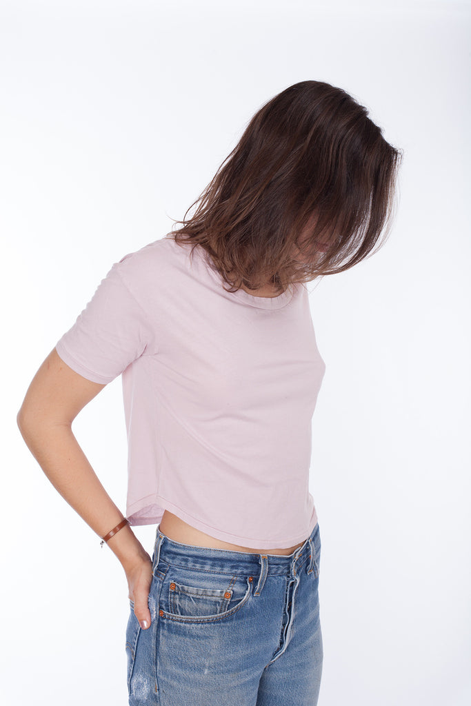 Crop Drop Shoulder Tee - Thistle