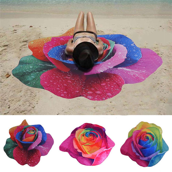 Rose Pattern Yoga Beach Mat