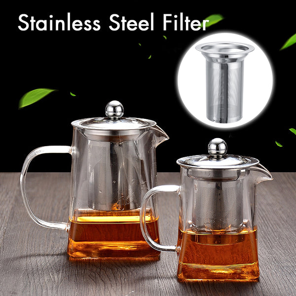 550ml/ 750ml Heat Resistant Glass Tea Pot Kettle With Stainless Steel Infuser