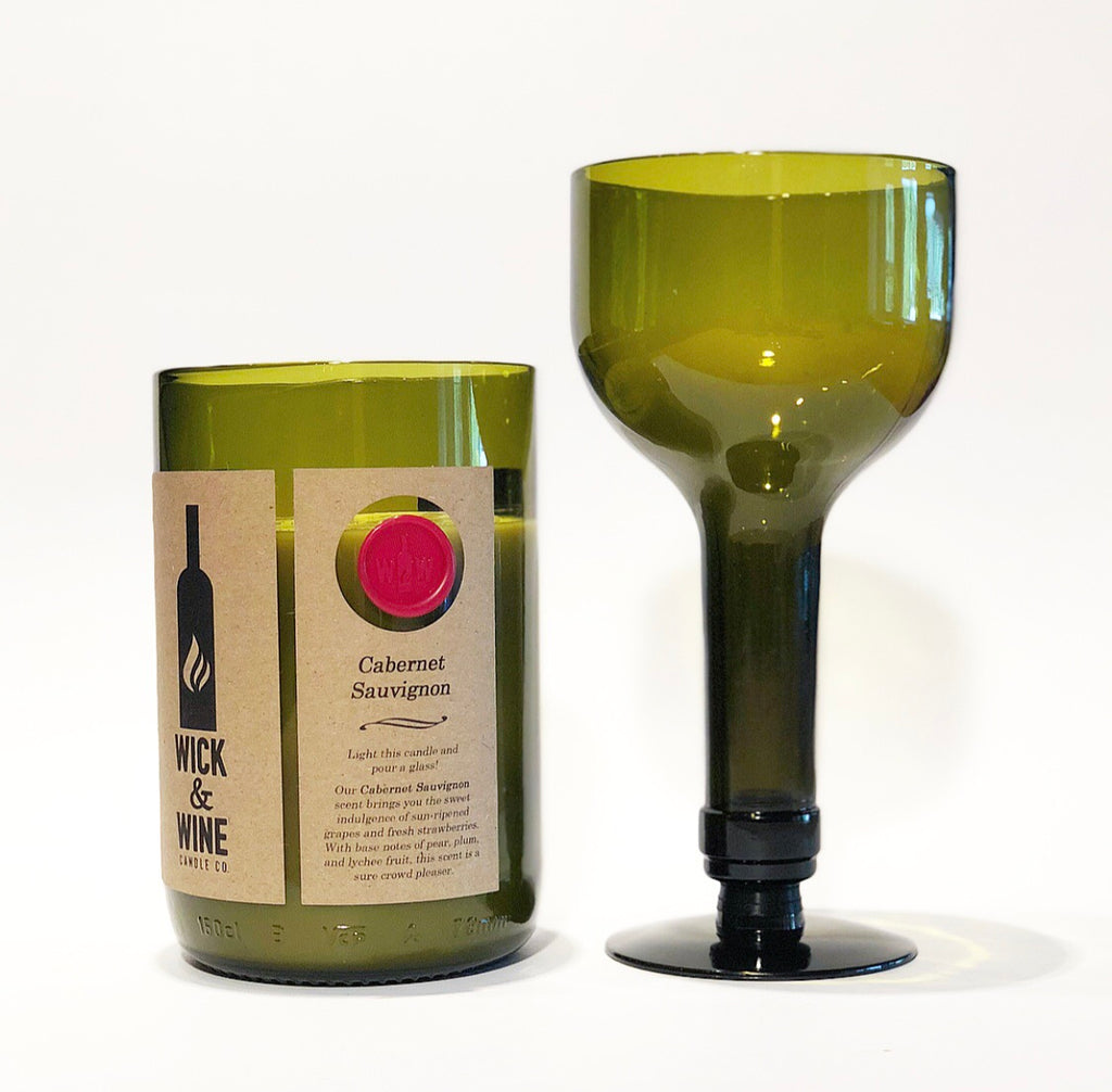 Wine Bottle Candle Bottle Top Converts To Usable Wine Glass Wick