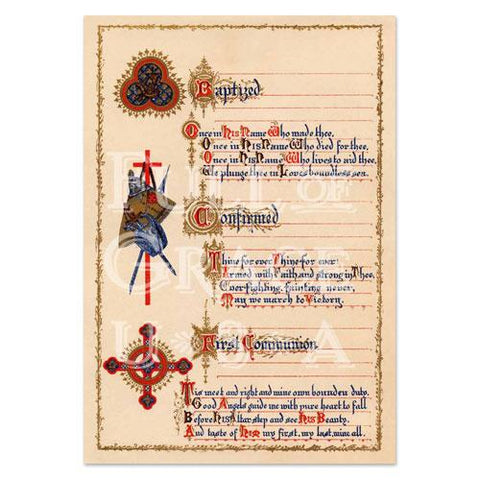 The Three Sacraments Certificate