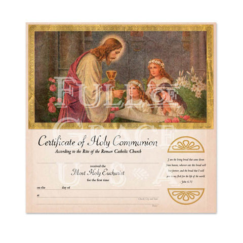 Ars Christiana First Holy Communion Certificate