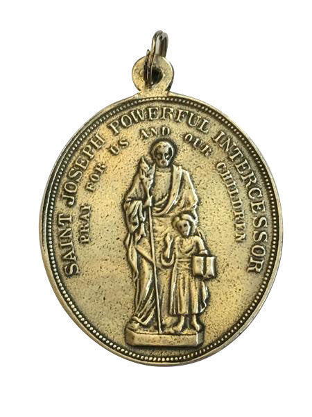St. Joseph Powerful Intercessor Medal (front), Pieta/Most Sorrowful Heart of Mary Medal (back)