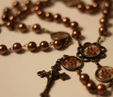 St Joseph Bronze Pearl Rosary with Filigree Crucifix by Shannon