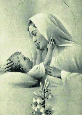 Mary & Baby Jesus (Black & White) Print 5X7
