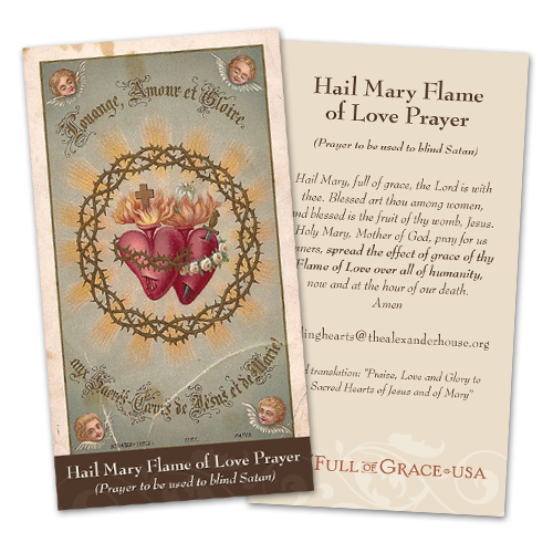 Hail Mary Flame of Love Holy Cards