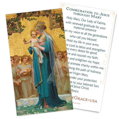 Fatima Centennial Consecration Holy Card - Gold Version