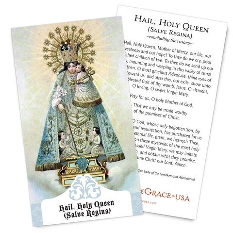Hail, Holy Queen (Salve Regina) Holy Card.