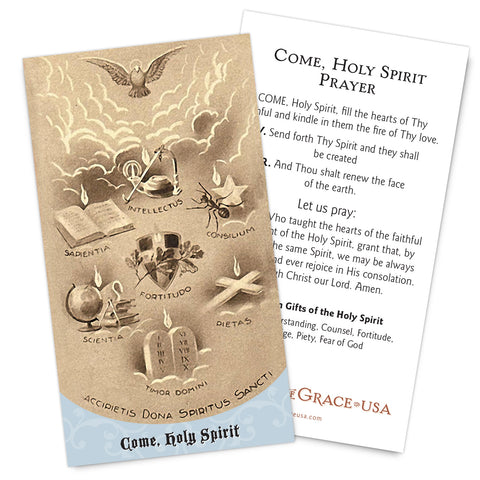Come, Holy Spirit (Traditional) Holy Card.  New for 2018