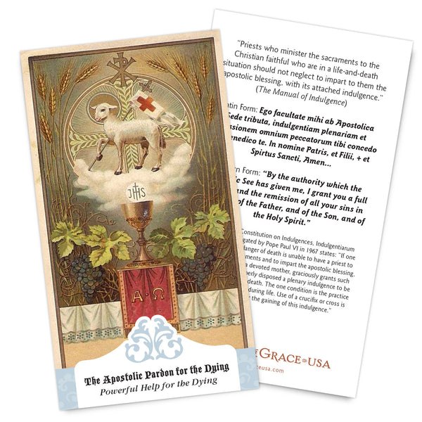 NEW for 2017:  The Apostolic Pardon - Powerful Help for the Dying Holy Cards