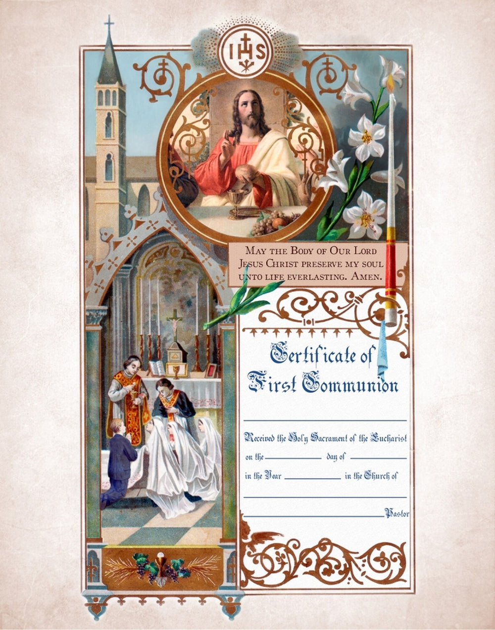 Traditional First Communion Sacrament Certificate with Priests