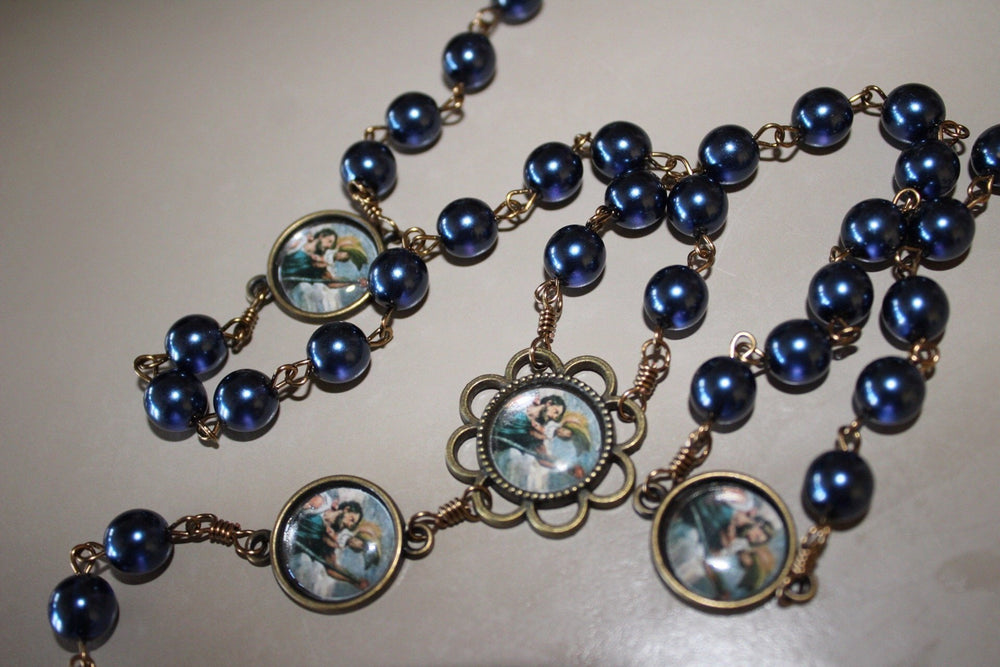 St Christopher Vintage Art Blue Pearl Rosary