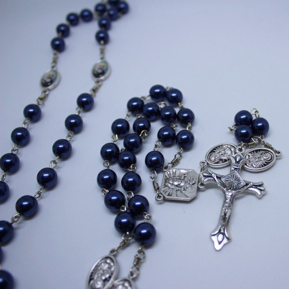 St. Padre Pio Vintage Art Deep-Blue Pearl Rosary with Crucifix by Shannon