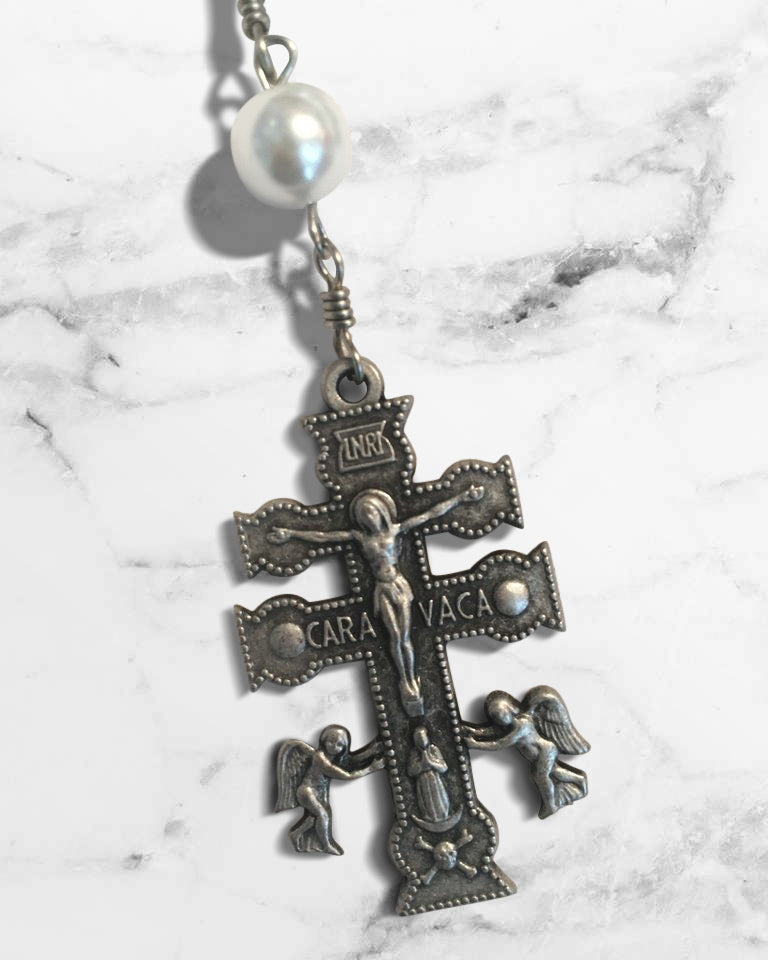 Caravaca Double Cross White-Glass Bead Rosary by Shannon