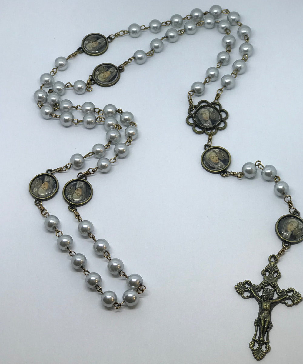 St. Catherine of Siena Silver Pearl Bronze Rosary with Filigree Crucifix by Shannon
