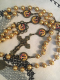 St. Claire Vintage Art Yellow Pearl Rosary with Filigree Crucifix by Shannon