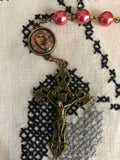 Our Lady of Kazan Pink Pearl Bronze Rosary with Filigree Crucifix by Shannon