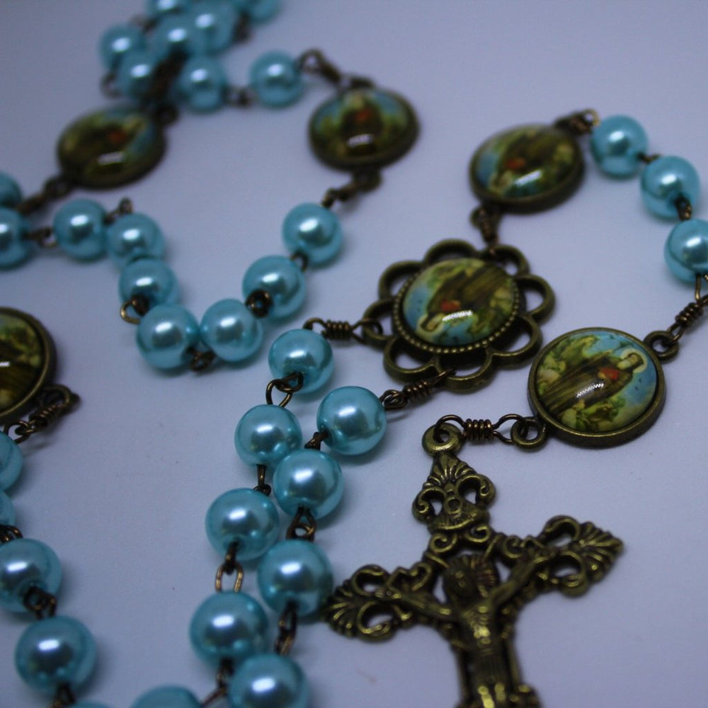 St. Benedict Vintage Art Light-Blue Rosary with Filigree Crucifix by Shannon