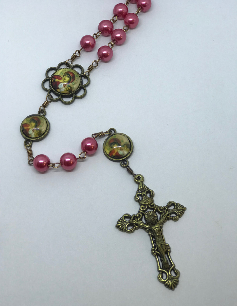 Madonna & Child Pink Pearl Bronze Rosary with Filigree Crucifix by Shannon