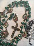 St. Michael the Archangel Vintage Art Emerald Rosary with Crucifix by Shannon