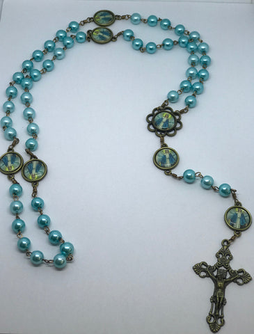 Our Lady of Grace Teal Pearl Bronze Rosary with Filigree Crucifix by Shannon