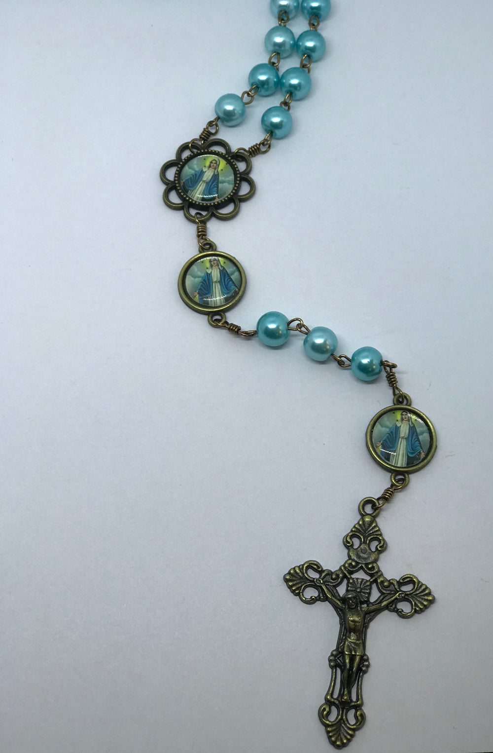 Our Lady of Grace Teal Pearl Bronze Rosary