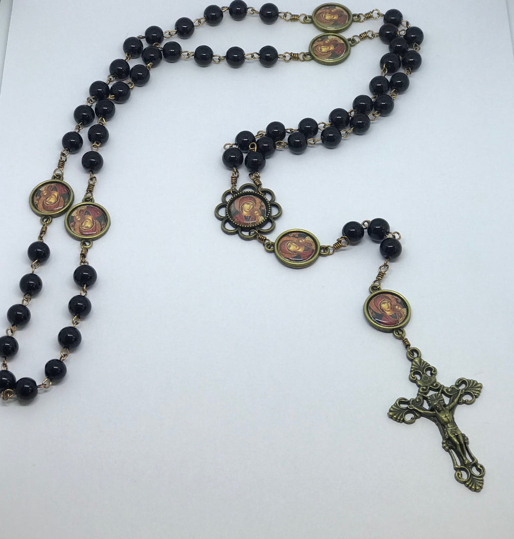 "Our Lady of Perpetual Help Black ""Pearl"" Bronze Rosary with Filigree Crucifix by Shannon"