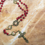 St. Therese Red Pearl Bronze Rosary with Filigree Crucifix by Shannon