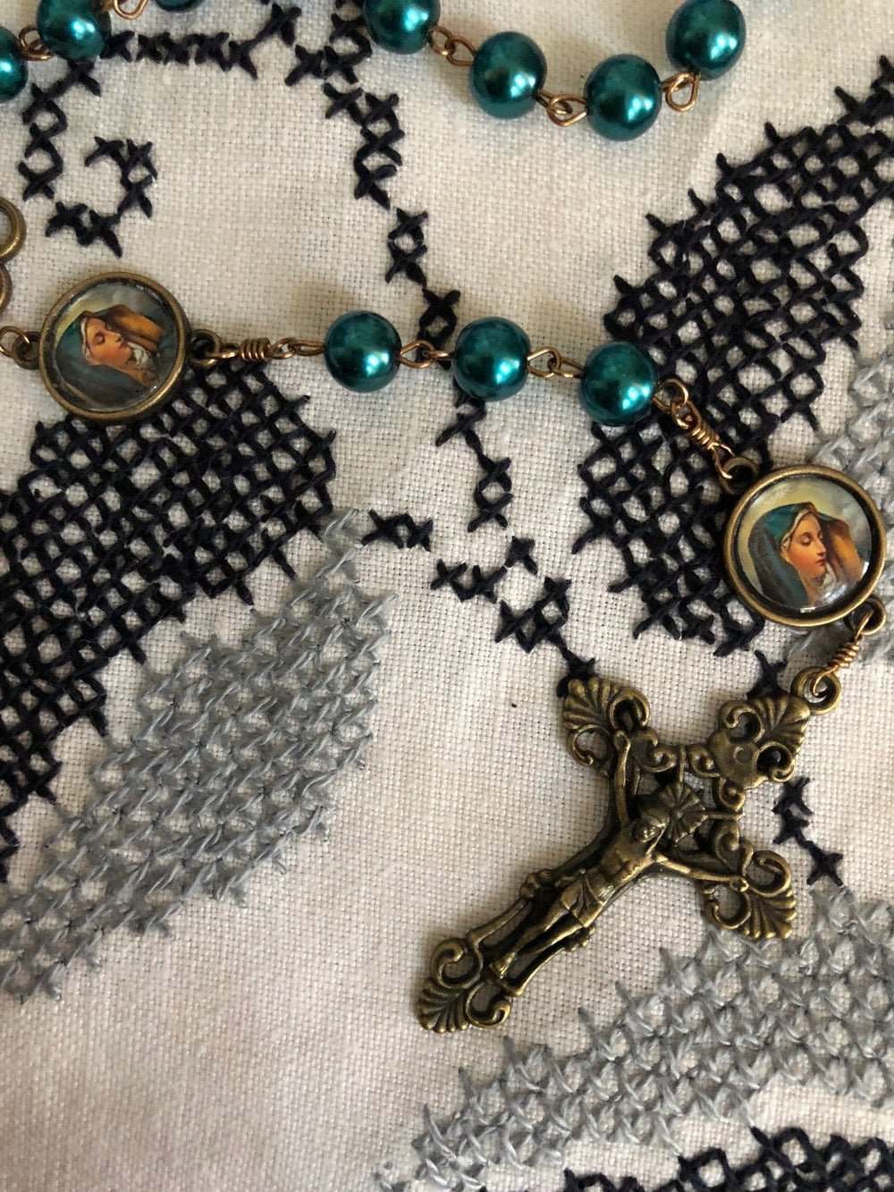Our Lady of Sorrows Teal Pearl Bronze Rosary with Filigree Crucifix by Shannon