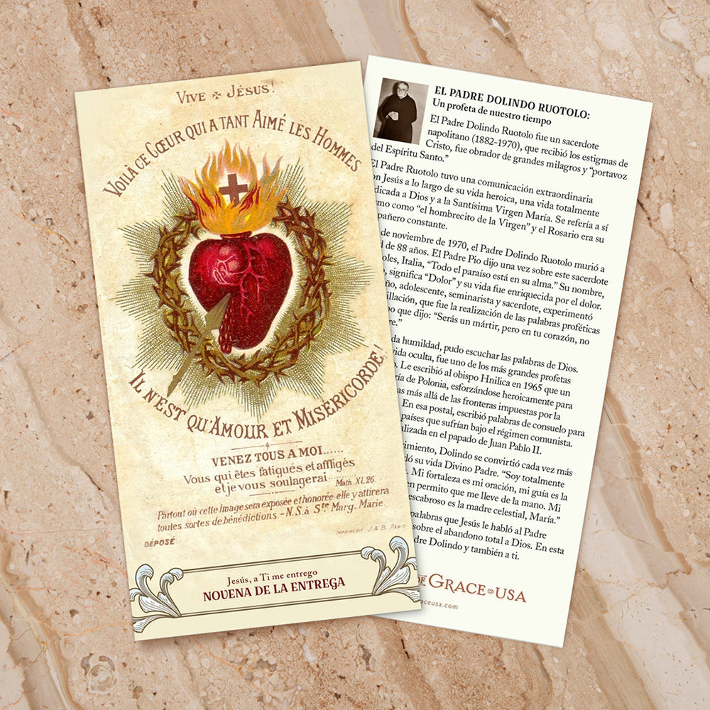 "Novena de la Entrega – Tríptico de estampa/The Surrender Novena SPANISH version Trifold Holy Cards (3"" X 5"")"
