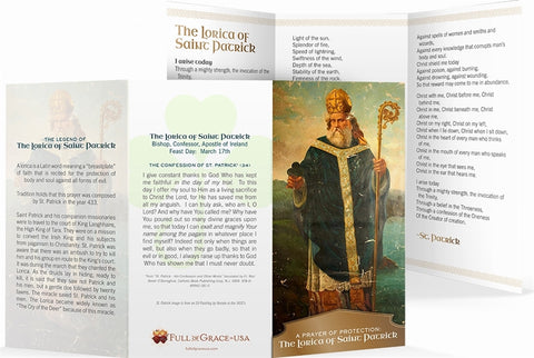 "The Lorica of St. Patrick Trifold Holy Cards - Original Wallet Size (3"" X 5"")"