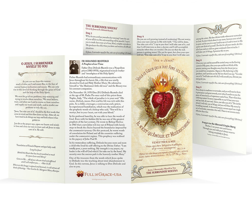 Large Surrender Novena Trifold Holy Cards with easy-to-read type