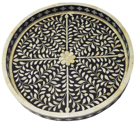 Kusamay Bone Inlay Tray / Black