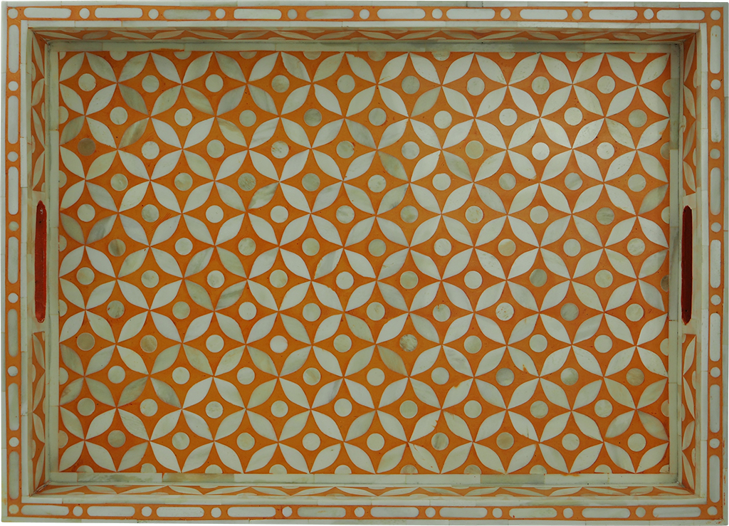 Sundar Bone Inlay Tray / Orange