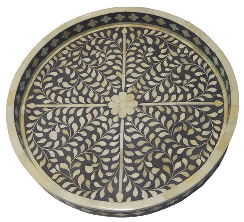 Kusamay Bone Inlay Tray / Grey