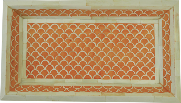 Shanti Bone Inlay Tray / Orange