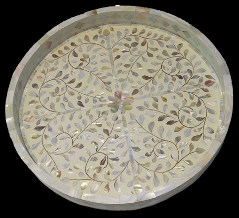 Kusamay MOP Inlay Tray - White
