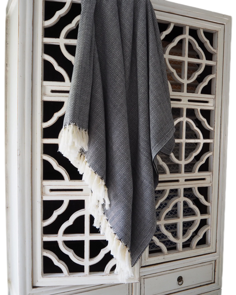 Turkish Throw / Chevron Black