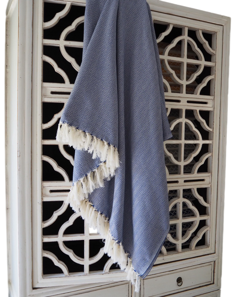 Turkish Throw / Herringbone Blue