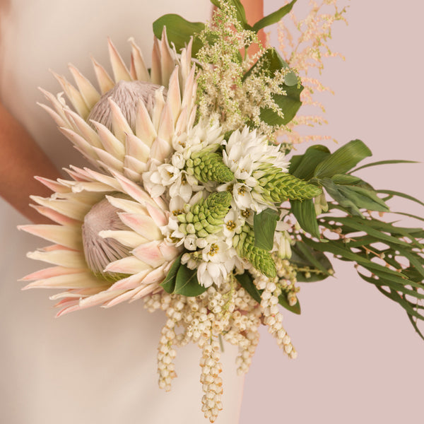 Bridal Bouquet - Wedding- flowers -  white - proteas - Auckland -delivery