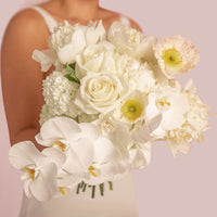 Bridal Bouquet - Wedding- flowers - white - roses- phalaenopsis-orchids - auckland delivery