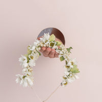 Flower Girl Hair Crown - White