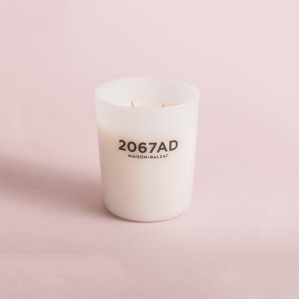 Maison Balzac Candle - 2067AD. 2067AD is the phantasmic fragrance of a speculative future flower - after 'La France', the first hybrid rose raised 200 years earlier.