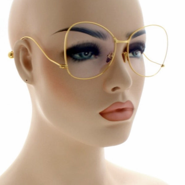 Granny metal frame clear lens glasses