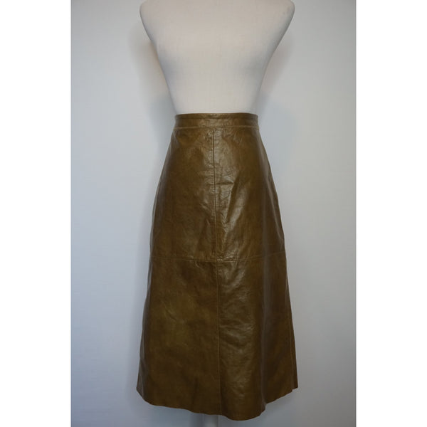 Vintage Olive Green leather skirt