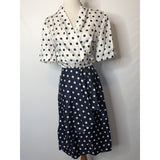 Vintage navy and white polka dot ruffle wrap dress