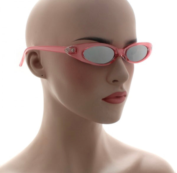 slim cat eye mirror sunglasses