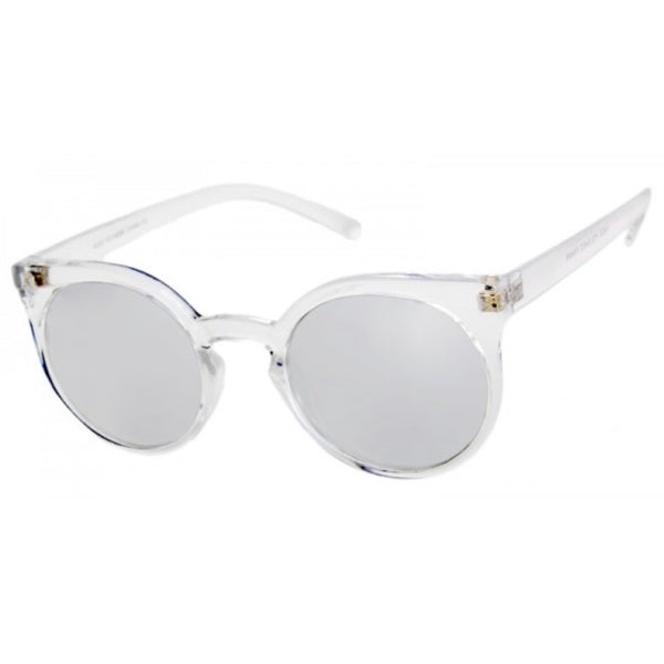 round clear mirror sunglasses