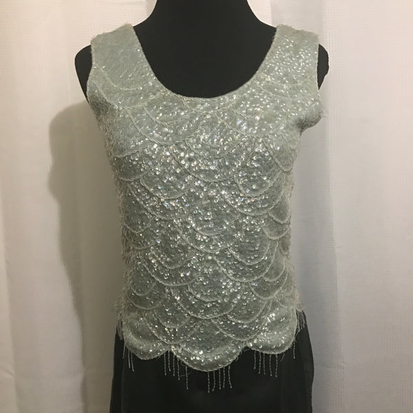 Vintage Mint green beaded tank